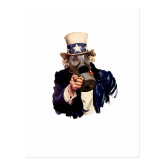 Uncle Sam - With Gas Mask!  Zombie Apocalypse! Postcard