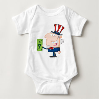 Uncle Sam With Holding A Dollar Bill Baby Bodysuit