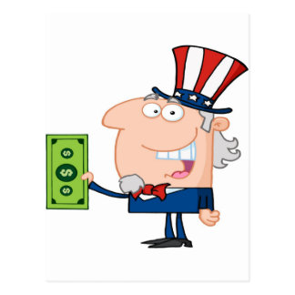Uncle Sam With Holding A Dollar Bill Postcard