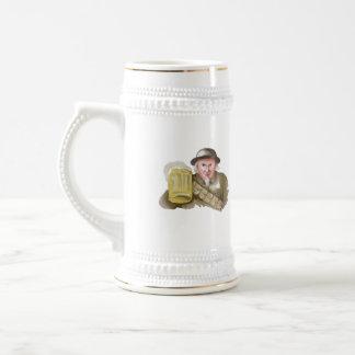 Uncle Sam WW1 Soldier Toasting Beer Watercolor Beer Stein