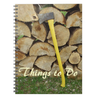 Uncle's Chores-Axe and Woodpile Spiral Notebooks