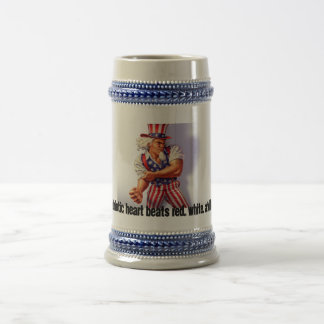 UncleSam_normal, My patriotic heart beats red, ... Beer Stein