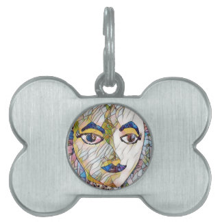 Uncommon Artistic Mannequin Face Pet Name Tag