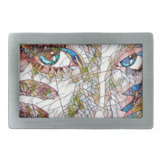 Uncommon Artistic Stained Glass Facial Features Belt Buckle