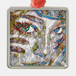 Uncommon Artistic Stained Glass Facial Features Metal Ornament