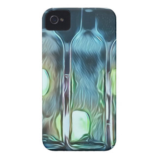 Uncommon Blue Classy Chic Artistic Wine Bottles iPhone 4 Case-Mate Case