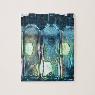 Uncommon Blue Classy Chic Artistic Wine Bottles Jigsaw Puzzle
