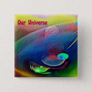 Uncommon Bright Rainbow Our Universe Abstract 15 Cm Square Badge