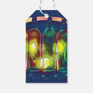 Uncommon Funky Multi-Color  Artistic Wine Bottles Gift Tags