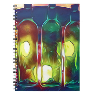 Uncommon Funky Multi-Color  Artistic Wine Bottles Notebook