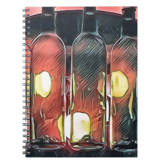 Uncommon Funky Rose Cinnamon Artistic Wine Bottles Notebook