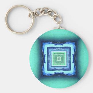 Uncommon Modern Blue Seagreen Geometric Pattern Key Ring