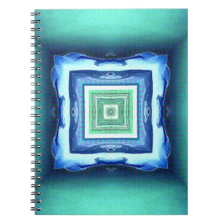 Uncommon Modern Blue Seagreen Geometric Pattern Notebook