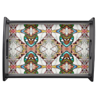 Uncommon Stained Glass Modern Pattern Serving Tray