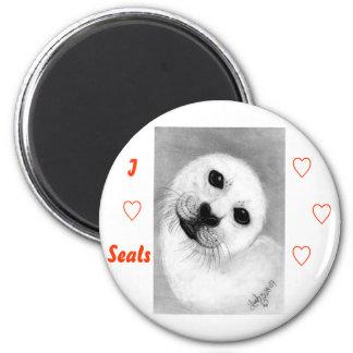 Unconditional Love Harp Seal Fridge Magnet