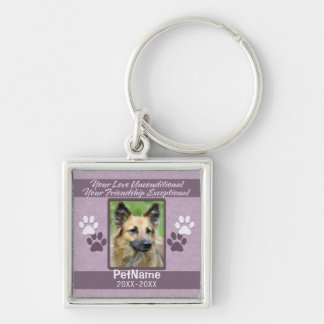 Unconditional Love Pet Sympathy Custom Silver-Colored Square Key Ring