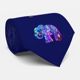 Unconventional vibrant psychedelic elephants tie