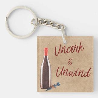 Uncork & Unwind Typography Wine Lovers Keychain