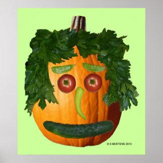 Uncut Pumpkin Face Poster