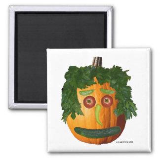Uncut Pumpkin Face Square Magnet