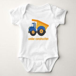 Under Construction Blue Truck Baby Bodysuit