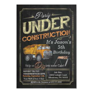 Under Construction Dump Truck Birthday Invitation
