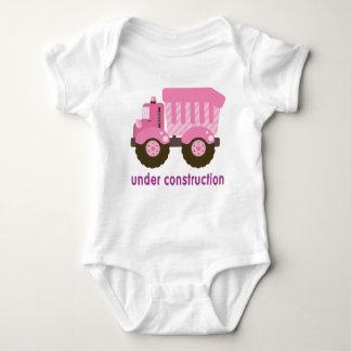 Under Construction Pink Truck Baby Bodysuit