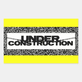 under construction rectangular sticker