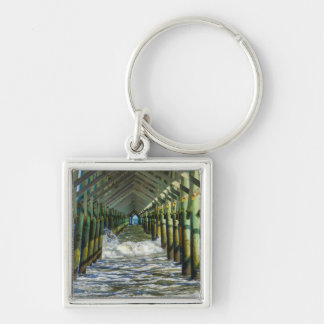 Under Folly Beach Pier Silver-Colored Square Key Ring