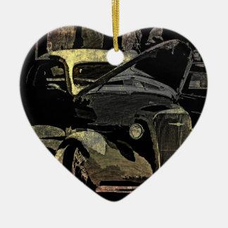 Under Her Hood - Grunge Car Art Ceramic Heart Decoration