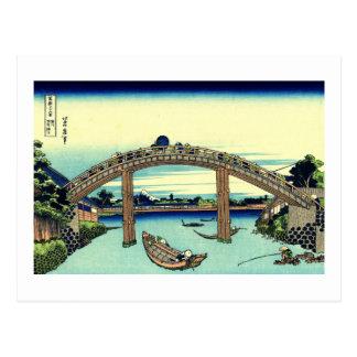 Under Mannen Bridge at Fukagawa Postcard