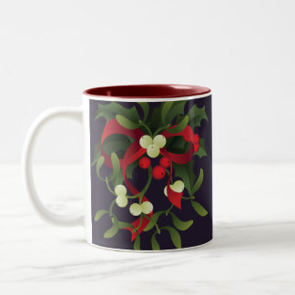 under mistletoe and holly berry Two-Tone coffee mug