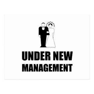 Under New Management Wedding Postcard