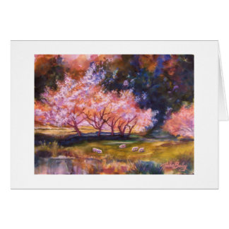 """UNder the Cherry Blossoms""-  Watercolor CARD"