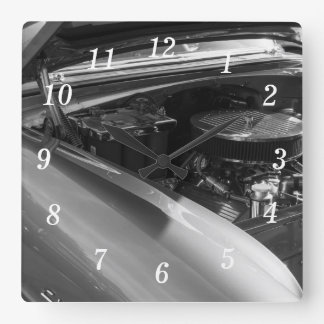 Under The Hood Square Wall Clock