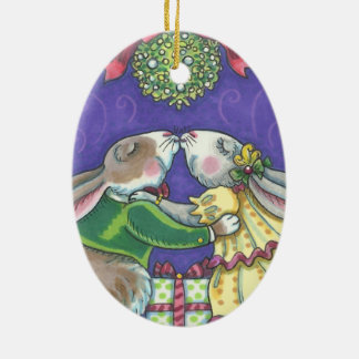 Under The Mistletoe CHRISTMAS RABBITS ORNAMENT