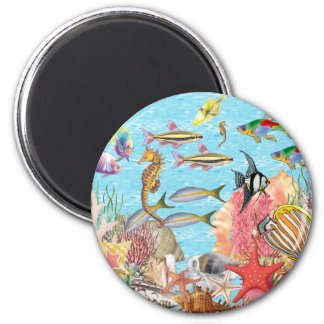 Under the sea 6 cm round magnet