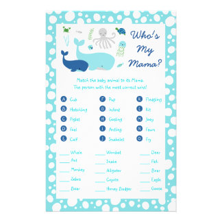 Under The Sea Baby Shower Animal Match Game Flyer