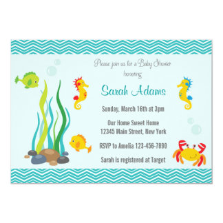 under the sea baby shower invitation ocean blue