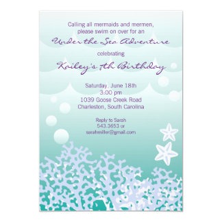 Under the Sea Birthday Party Invitation (Aqua)