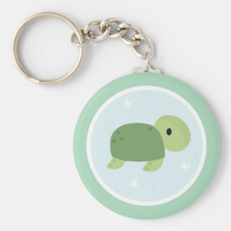 Under the Sea Birthday Party Turtle Basic Round Button Key Ring