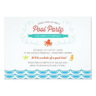 under the sea birthday pool party invite - Under The Sea Party Invitations