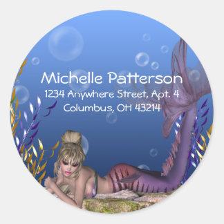 Under the Sea Blonde Mermaid Return Address Labels Round Sticker