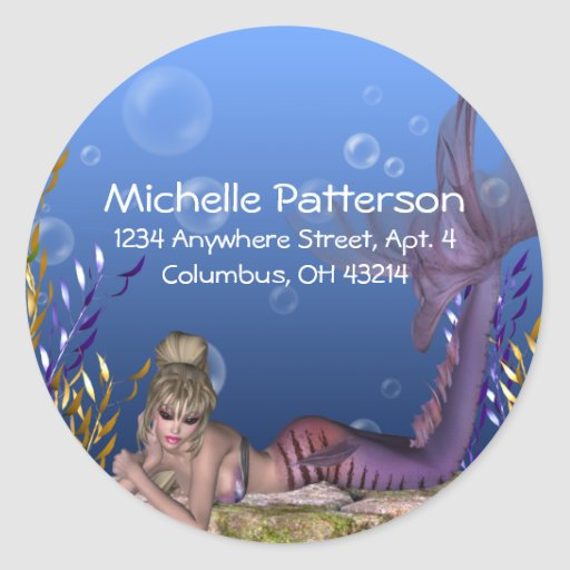 Under the Sea Blonde Mermaid Return Address Labels Stickers