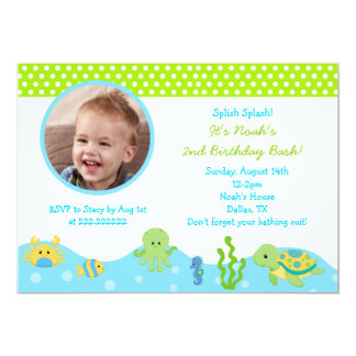 Under the Sea Boy Photo Birthday Invitations