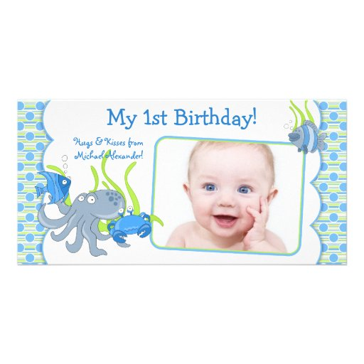 Under the Sea Critters Boy 1st Birthday Photocard Personalized Photo Card