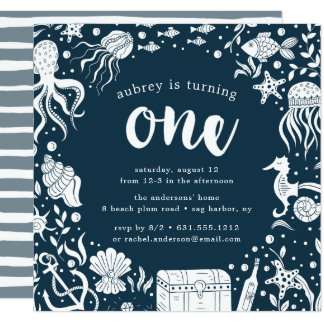 Under the Sea   First Birthday Party Invitation