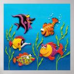Under the Sea Fish Baby Boy Shower Nursery Poster