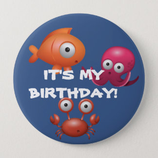 Under the Sea Fish Octopus Lobster Birthday Button
