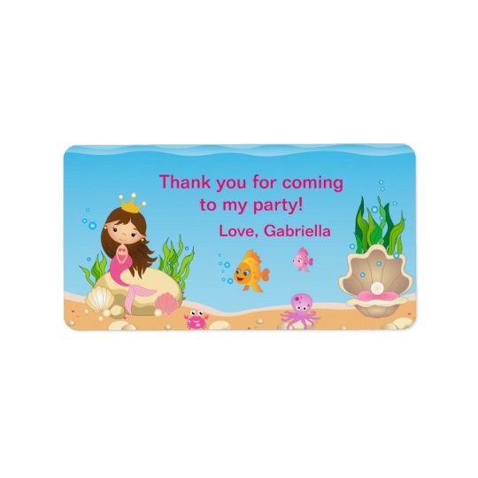 Under the Sea Mermaid Birthday Favour Tag Label